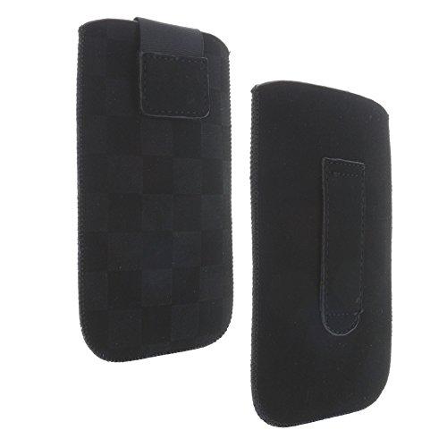 Handytasche mit Ausziehhilfe Größe XL passend für Archos 40 Neon - Doro 5516 - Sony Xperia XZ1 Compact - Handy Hülle schwarz