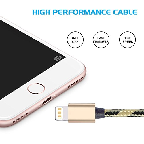 Cavo iPhone, Auspisa 2pcs-3 M extra lungo cavo Lightning 8 pin a USB cavi di ricarica per iPhone se/7/7PLUS/6/6S/6 Plus/6s Plus, C/5S/5, iPad Pro/Air/Mini, iPod Nano/Touch (Oro + Nero) 3M-Black Gold