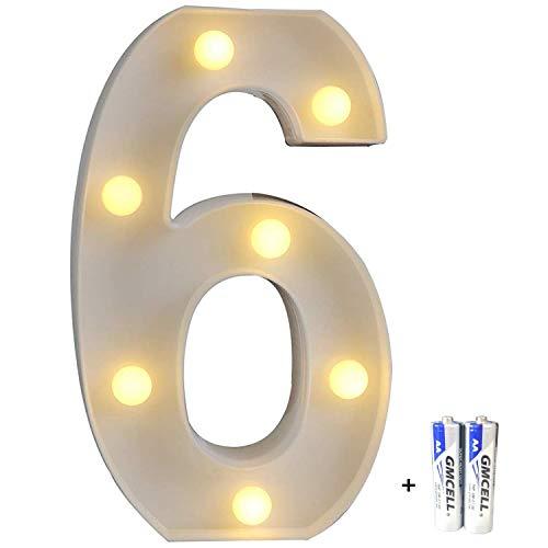 LED Buchstabe Lichter Alphabet, LED Brief Licht, Led dekoration für Geburtstag Party Hochzeit & Urlaub Haus Bar - Nummer 6