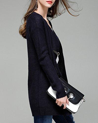 ELLAZHU Donna Cardigan A Maglia Di Colore Puro Con Collo Rotondo Alla Moda Per Autunno YY11 YY11 Blu