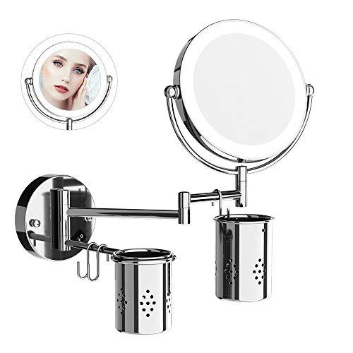 Edelstahl-power-tower (Kosmetikspiegel mit Beleuchtung,7-facher Vergrößerung Schminkspiegel Wandmontage mit LED, Doppelseitig Rostfrei Rasierspiegel Wandmontage für Badezimmer, 360° Schwenkbar Makeup Wandspiegel)