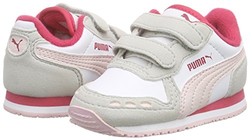Puma Cabana Racer SL V Inf  Unisex Kids  Low-Top Trainers  White Pink Dogwood  2 5 UK