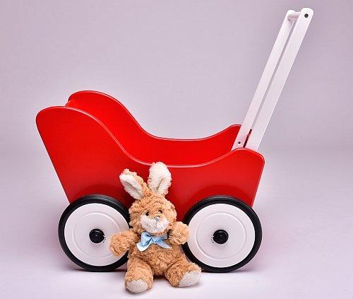 SchwabenKids® Puppenwagen rot + Bremse + Textil Lauflernhilfe Laulernwagen Holz Gehfrei Bremse Clip Räder Holzpuppenwagen