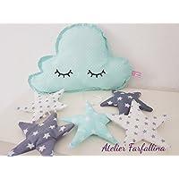 Wolken Mobile sleepy eyes Mint grau handmade Kinderzimmer Mobile Babyzimmer