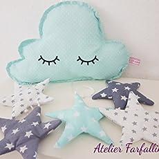 Wolken Mobile Sleepy Eyes Mint Grau Handmade Kinderzimmer Mobile