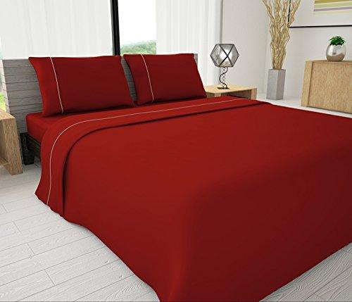 Livingston Home Neuheit Betten 33022625Serie Solid Tabelle Set mit Rohrleitungen Akzente, Full, rot - Bambus-set Akzent-tabelle