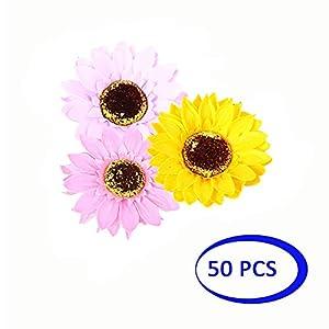 Shuny 50 Pcs Flor falsa,Cabeza de flor de girasol,Flores Artificiales Decorativas para Ramos de Boda, hogar, Hotel, jardín, Actividades de Navidad, Regalos.