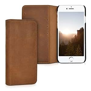 kalibri Custodia per Apple iPhone 7 / 8 - Cover protettiva sottile in vera pelle - Case wallet pieghevole con porta carte per cellulare castagno