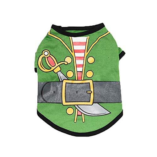LOSVIP Haustierkleidung 2019,Mode Kostüm Piraten-T-Shirt(Grün,S) (Grüne Schaf Kostüm)