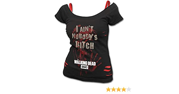 0174222e8c Spiral Women - Nobody s Bitch - Walking Dead 2in1 Red Ripped Top Plus Size   Amazon.co.uk  Clothing