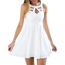 Kinlene Verano Vestido de Fiesta Sin Mangas Elegantes Coctel Noche para Mujer Blanco Vestido de Boho