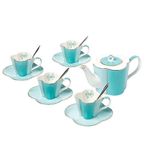 ufengke-ts Style Fleur Bleue Service À Café,Théière,Tasses et Soucoupe,Bone China Service A Thé Anglais pour Mariage
