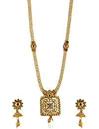 Reeti Fashions - Traditional Long Haram Geometric Motif Multicolour Stone Studded Necklace Set For Women (RF17...