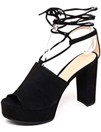Suede F0800 Zeppa Unisa Scarpe Donna Woman Shoe Vale Sandalo Black ATOqaw