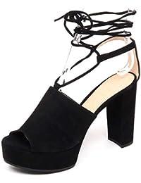 dcf69e3adf UNISA F0800 Sandalo Donna Black Vale Zeppa Scarpe Suede Shoe Woman