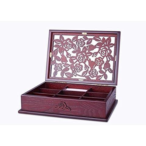 XYXY HYT Fatto a mano in legno Hollow intagliato gioielli casella gioielli collana Storage Box europeo retrò regali di nozze
