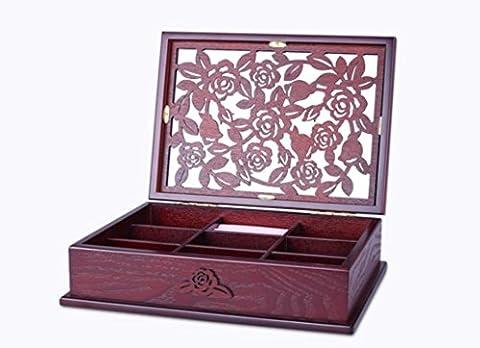 MEYLEE Fabriqué à la main en bois creux sculptés bijoux boîte Bijoux Collier stockage Box européen rétro cadeaux de mariage