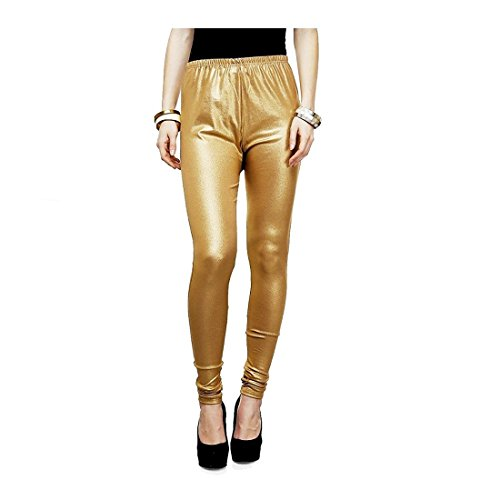 Saundarya Women\'s Golden Shimmer Poly Cotton Churidar comfortable, soft and superior quality Leggings - Free Size (28-36 inches)