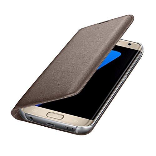 Malloom Nuevo lujo monedero tarjeta tirón caso cubierta de piel funda para Samsung Galaxy S7 Edge (oro)