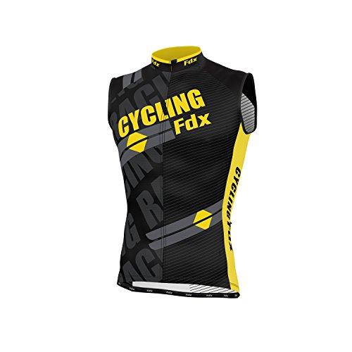 FDX senza maniche da ciclismo da uomo in Jersey traspirante, da uomo, per ciclismo, corsa Team-Maglia per ciclismo, giallo, XL