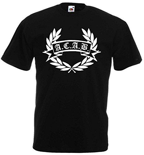world-of-shirt Herren T-Shirt ACAB Hooligan Lorbeerkranz von S-XXXL|L Cap Polo Club