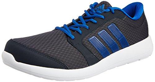 Adidas Men's Hellion M Night Grey and Blue Mesh Running Shoes - 9 UK