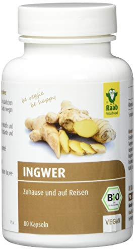 Raab Vitalfood Bio Ingwer-Kapseln, 80 Stück, ohne Zusätze, mit ätherischen Ölen, vegan, glutenfrei, Gingerol, Ingwerpulver, schonend verarbeitet, 32 g