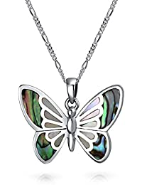 Bling Jewelry Abalone filigrane Schmetterling Anhänger Sterling Silber Halskette 16 Zoll