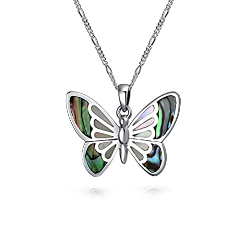 Bling Jewelry Abalone Filigree Butterfly Pendant Sterling Silver Necklace 16 Inches