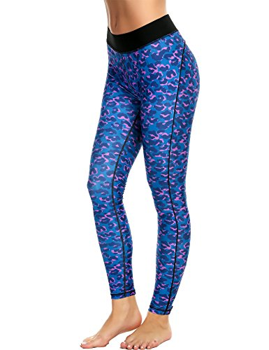 Ekouaer - Leggings sportivi -  donna Blue White Zipper