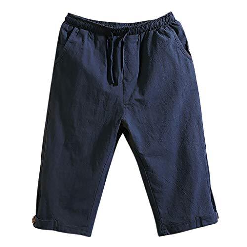 ommer Bermuda Neu Dünn Lässig Locker 3/4 Hose Vintage Kurze Hose,Marine,EU:M(Tag:XL) ()