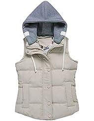 Tailloday mujer de invierno Outwear Chaleco Chaleco Capucha desmontable