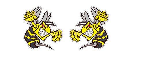 2 Aufkleber Böse Biene 12cm Angry Bee Ski-Doo Hornets Wespe Sticker Autocollants / Plus Gratis Schlüsselringanhänger aus Kokosnuss-Schale / Auto Motorrad Laptop Helm Tuning Racing JDM Dub