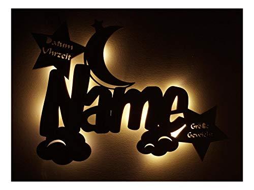 """Led Holz Nachtlicht\""""Wolken-Mond\"""" Name-n und Datum individuell personalisiert, Taufgeschenk-e Geschenk-e zur Geburt Taufe Kommunion Paten-Kind Mädchen Junge-n"""