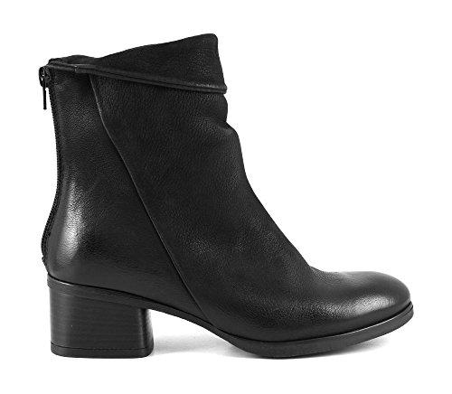 CAFè NOIR HH711 nero stivaletto tronchetto donna zip pelle tacco basso Nero