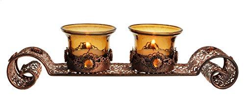Splendida rame bejewelled marocchino portacandele, 26 cm