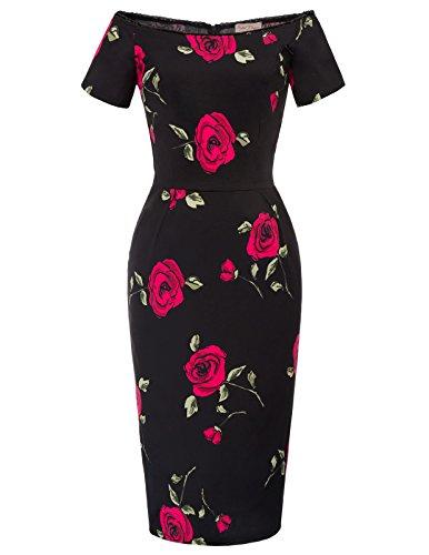 Belle Poque Élégant Vintage Robe Florale avec Corsage Froncé DEBP117-1 XXL