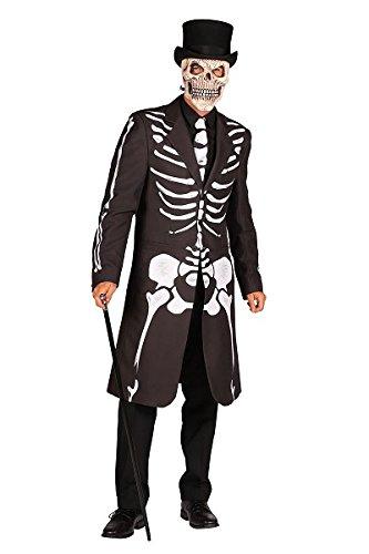 (Thetru 2397 Herrenjacke Skelett 2-Teilig Jacke Gürtel Gefüttert Gesit Gespenst Leiche Zombie Untoter Halloweenkostüm Herren Halloween Herrenkostüm Karneval Fasching Verkleidung Schwarz M)