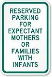 qidushop Home Decor Schild Reserviert Parken für Werdende Mütter Oder Familien mit Kleinkinder Metall Plakette für Outdoor Innenbereich Yard Zaun Schild 30x 45cm
