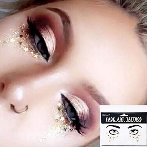 WXX Gesicht Stick Diamant Tattoo, Gesicht Stick Augenbrauen Aufkleber, Gesicht Maskerade Bar Gesicht Stick Bohrer, Geeignet Für Partys, Karneval, Verkleiden Sich,A