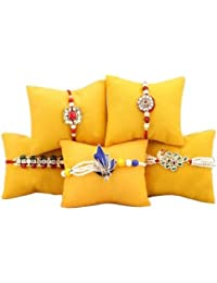 Chandrika Pearls Gems & Jewellers Crystal Studded Non-Precious Metal Multicolour Rakhi for Men - Pack of 5