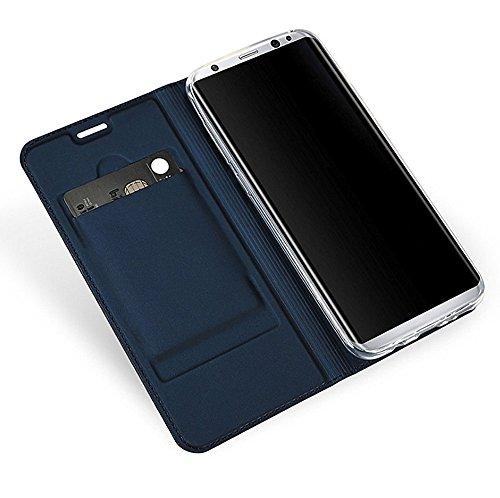 Samsung Galaxy S8 PLUS Coque Pacyer® Étui Housse en Cuir Véritable avec La Fonction Stand Housse étui écran protection Cover flip Bleu