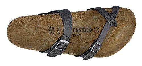 Birkenstock Womens Mayari Birko-Flor Sandals Pull Up Anthracite