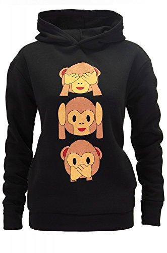 DSguided Damen Kapuzen Sweatshirt Hoodie Whatsapp SMS Smiley Äffchen Süße Affen Emoji Pullover Pulli Kapuzenpulli in 4 Farben, Größe:XS;Farbe:Schwarz (Kapuzen-sweatshirt Allein)