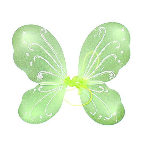 Kind Fee Kostüm Grüne - Petalum Mädchen Fee Kostüm Kinder Prinzessin Feenflügel Schmetterlingsflügel Fairy Butterfly Wings