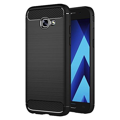 AICEK Samsung Galaxy A3 2017 Hülle, Schwarz Silikon Handyhülle für Galaxy A3 2017 Schutzhülle A320 (4,7 Zoll) Karbon Optik Soft Case