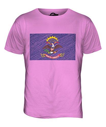 CandyMix Bundesstaat North Dakota Kritzelte Flagge Herren T Shirt Rosa
