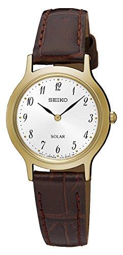 Seiko Damen Analog Solar Uhr mit Leder Armband SUP370P1