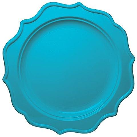 Decorline- Assiette à dîner 24 cm Bleu Turquoise en plastique à usage unique - Collection Festive -Party-Jetable -12 Pièces