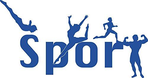 Graz Design Wandtattoo Leichtathletik | Sportlicher Wandsticker für Sportraum | Aufkleber in 47 Farben (94x50cm//052 azurblau)
